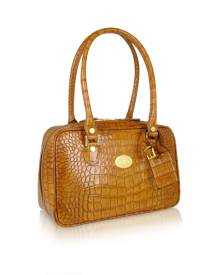 L.A.P.A. Designer Handbags, Camel Croco Stamped Italian Leather Shoulder Bag