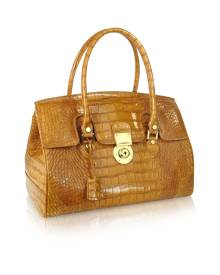 L.A.P.A. Designer Handbags, Camel Croco Stamped Genuine Leather Satchel Bag