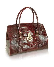 L.A.P.A. Designer Handbags, Ruby Red Croco Stamped Patent Leather Satchel Bag