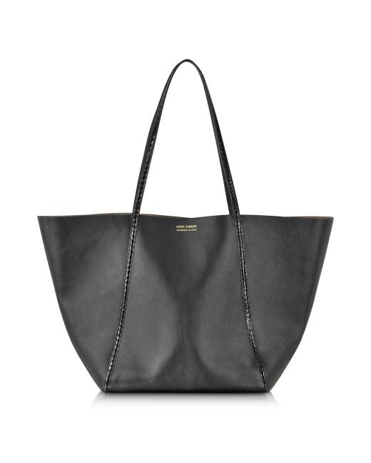 Linda Farrow Designer Handbags, Black Ayers and Calf Leather Tote