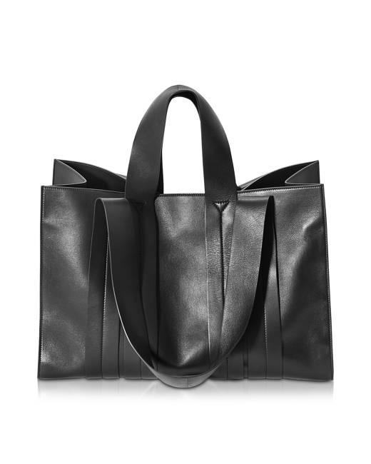 Corto Moltedo Designer Handbags, Costanza Beach Club Large Black Leather Tote