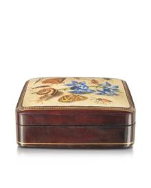 Bianchi Arte Designer Jewelry Boxes, Oil on Leather Mini Jewelry Box w/Light Blue Flower