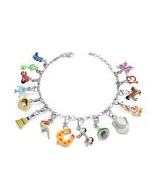 Tedora Designer Bracelets, Sterling Silver Multicolor Charm Bracelet