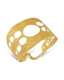Stefano Patriarchi Designer Bracelets, Golden Silver Etched Cut Out Cuff Bracelet