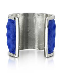 Avril 8790 Designer Bracelets, Palladium Plated Brass and Electric Blue Viscose Bangle