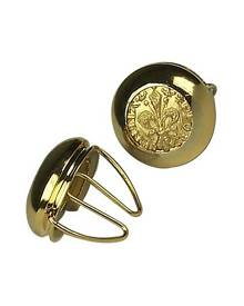 Forzieri Designer Button Covers, Gold Plated Giglio Button Covers