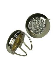 Forzieri Designer Button Covers, Silver Plated Giglio Button Covers