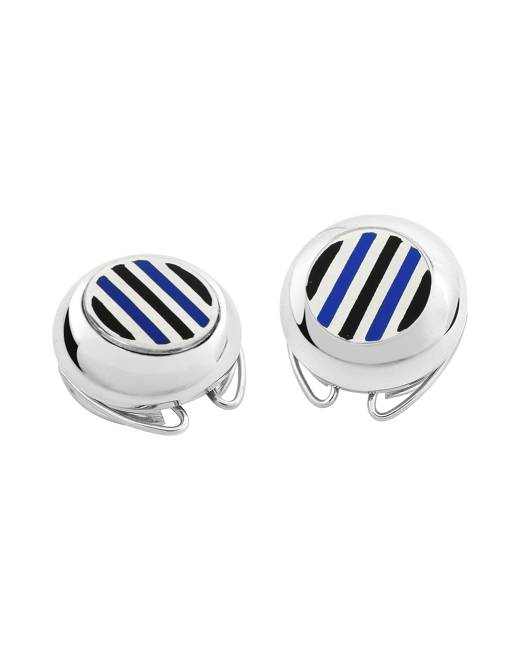 Forzieri Designer Button Covers, Striped Silver Plated Button Covers