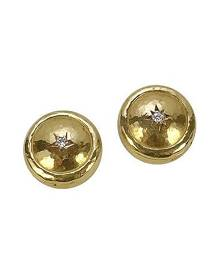 Torrini Designer Button Covers, 18K Gold and Diamond Star Button Covers