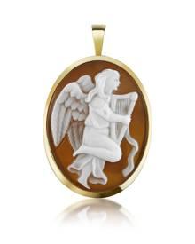 Del Gatto Designer Cameo, Angel with Lyre Sardonyx Cameo Pendant/Pin
