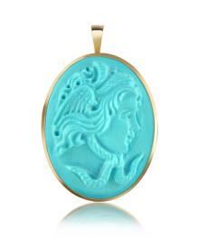 Del Gatto Designer Cameo, Medusa Turquoise Paste Cameo Pendant/Pin