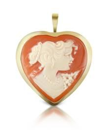 Del Gatto Designer Cameo, Woman Heart Cornelian Cameo Pendant/Pin