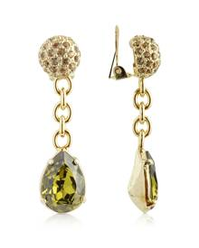 AZ Collection Designer Earrings, Green Clip-On Drop Earrings