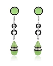 AZ Collection Designer Earrings, Jade Drop Clip-On Earrings