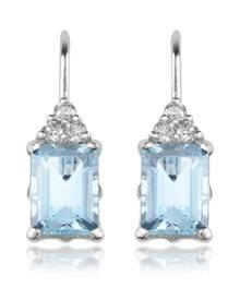 Incanto Royale Designer Earrings, Aquamarine and Diamond 18K Gold Drop Earrings
