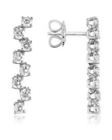 Forzieri Designer Earrings, 1.06 ctw Drop Diamond 18K Gold Earrings