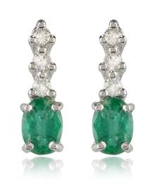 Incanto Royale Designer Earrings, Emerald and Diamond 18K Gold Drop Earrings