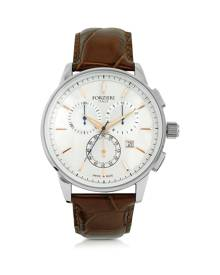 Forzieri Designer Men's Watches, Viareggio Silver Tone Stainless Steel Case and Brown Embossed Leather Men's Chrono Watch