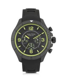 Nautica Designer Men's Watches, Black Stainless Steel Case and Rubber Strap Men's Watch