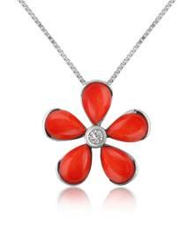 Del Gatto Designer Necklaces, Diamond Gemstone Flower 18K Gold Pendant Necklace