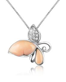 Del Gatto Designer Necklaces, Diamond Gemstone Butterfly 18K Gold Pendant Necklace