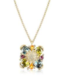AZ Collection Designer Necklaces, Gold-plated Flower Drop Necklace