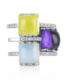 Mia & Beverly Designer Rings, Gemstone and Diamond 18K White Gold Ring
