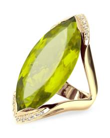 Forzieri Designer Rings, Green Gemstone and Diamond Yellow Gold Fashion Ring
