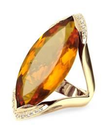 Forzieri Designer Rings, Orange Gemstone and Diamond Yellow Gold Fashion Ring