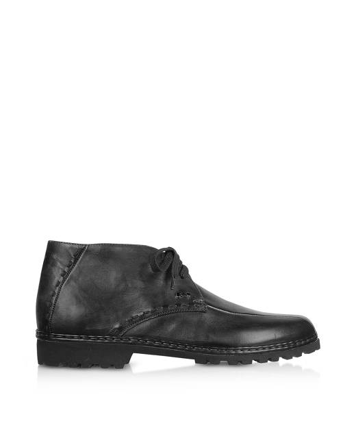 PakersonDesigner Shoes, Petrol Handmade Italian Leather Wingtip Ankle Boots