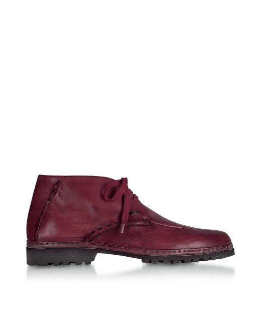 PakersonDesigner Shoes, Wine Handmade Italian Leather Ankle Boots