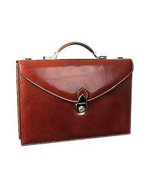 L.A.P.A. Designer Briefcases, Classic Cognac Leather Briefcase