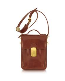 L.A.P.A. Designer Briefcases, Cognac Leather Vertical Briefcase