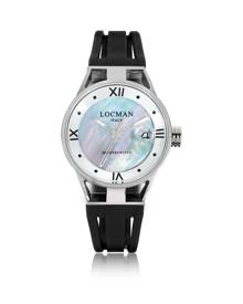 Locman Designer Women's Watches, Montecristo Stainless Steel and Titanium Mother of Pearl w/Silicone Strap Women's Watch