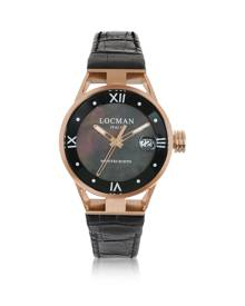 Locman Designer Women's Watches, Montecristo Stainless Steel and Titanium Rose Gold PVD Women's Watch w/Croco Embossed Leather S