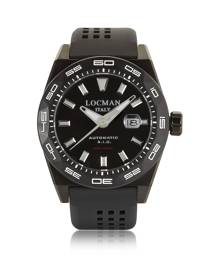 Locman Designer Men's Watches, Stealth 300 mt Analog Display Automatic Self Wind Black PVD Stainless Steel, Titanium and Silicon