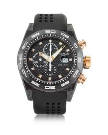 Locman Designer Men's Watches, Stealth 300mt Black/Gold Carbon Fiber and Titanium Quartz Movement Men's Chronograph Watch