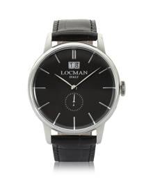 Locman Designer Men's Watches, 1960 Silver Stainless Steel Men's Watch w/ Black Croco Embossed Leather Strap