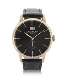 Locman Designer Men's Watches, 1960 Rose Gold PVD Stainless Steel Men's Watch w/Black Croco Embossed Leather Strap