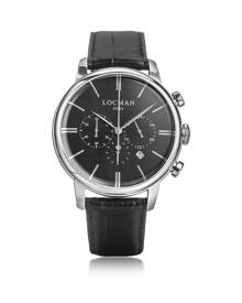 Locman Designer Men's Watches, 1960 Silver Stainless Steel Men's Chronograph Watch w/Black Croco Embossed Leather Strap