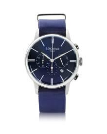 Locman Designer Men's Watches, 1960 Stainless Steel Men's Chronograph Watch w/Blue Canvas Strap