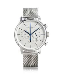 Locman Designer Men's Watches, 1960 Silver Stainless Steel Men's Chronograph Watch