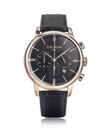 Locman Designer Men's Watches, 1960 Rose Gold PVD Stainlees Steel Men's Chronograph Watch w/Black Strap