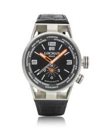 Locman Designer Men's Watches, Montecristo Stainless Steel & Titanium Dual Men's Watch w/Leather Strap