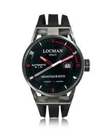 Locman Designer Men's Watches, Montecristo Stainless Steel & Titanium Automatic Men's Watch w/Silicone Strap