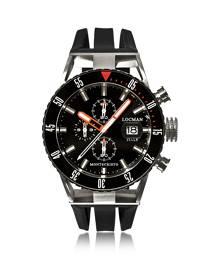Locman Designer Men's Watches, Montecristo Black PVD Stainless Steel & Titanium Chronograph Men's Watch