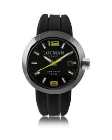 Locman Designer Men's Watches, One Black PVD Stainless Steel Chronograph Men's Watch w/Leather and Silicone Band Set
