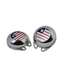 Forzieri Designer Button Covers, Silver Plated Star and Stripes Button Covers