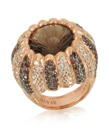Azhar Designer Rings, Rose Sterling Silver Riccio Ring w/two-tone Cubic Zirconia and Brown Stone