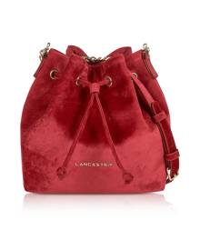 Lancaster Paris Designer Handbags, Velvet Small Bucket Bag